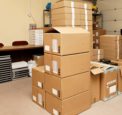 Office Furniture In Moving Boxes